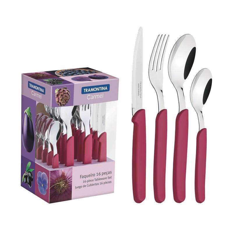 Faqueiro Tramontina Carmel em Aco Inox 16 Pecas Purpura medio - 23499011