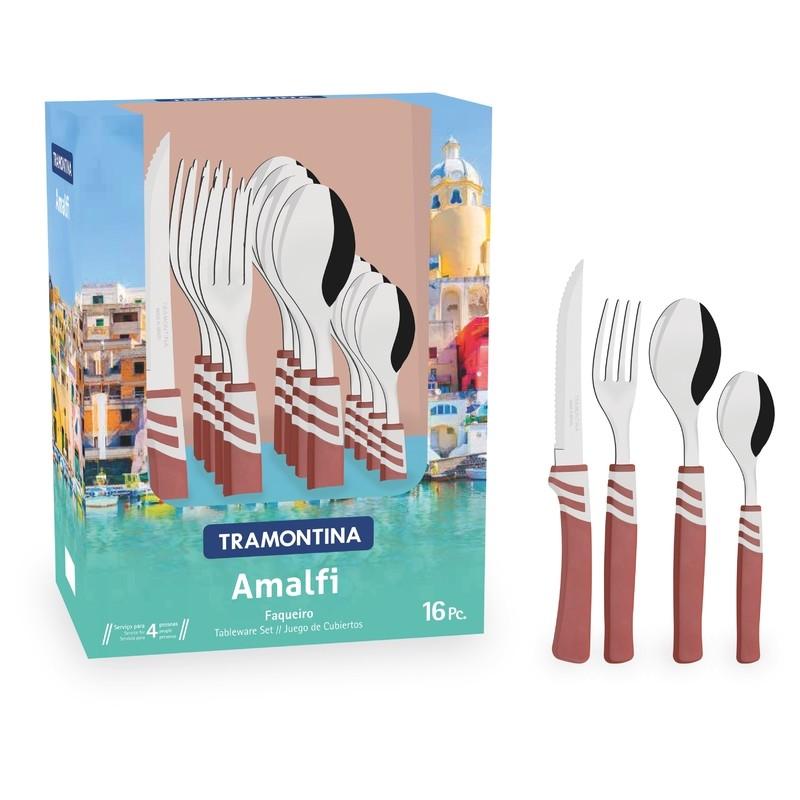Faqueiro Tramontina Amalfi em Aco Inox 16 Pecas Marsala - 23499771