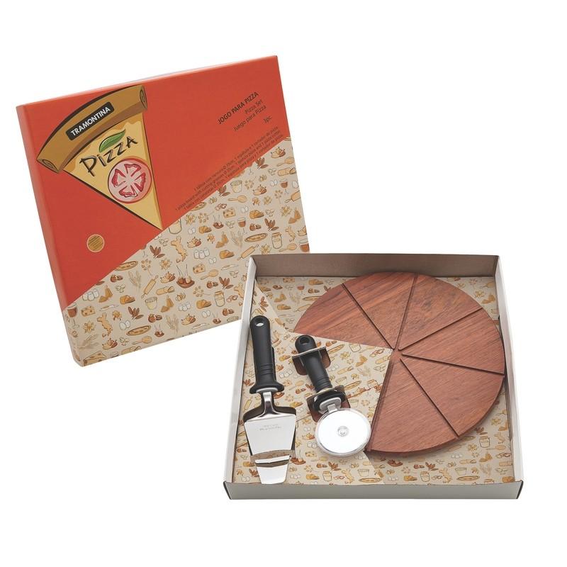 Jogo para Pizza Tramontina em Aco Inox 3 Pecas - 25099024