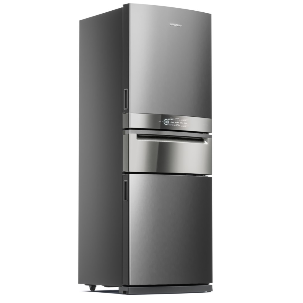 GeladeiraRefrigerador Brastemp Frost Free Inverse 419L 220V 3 Portas Inox - Painel Touch - BRY59BK