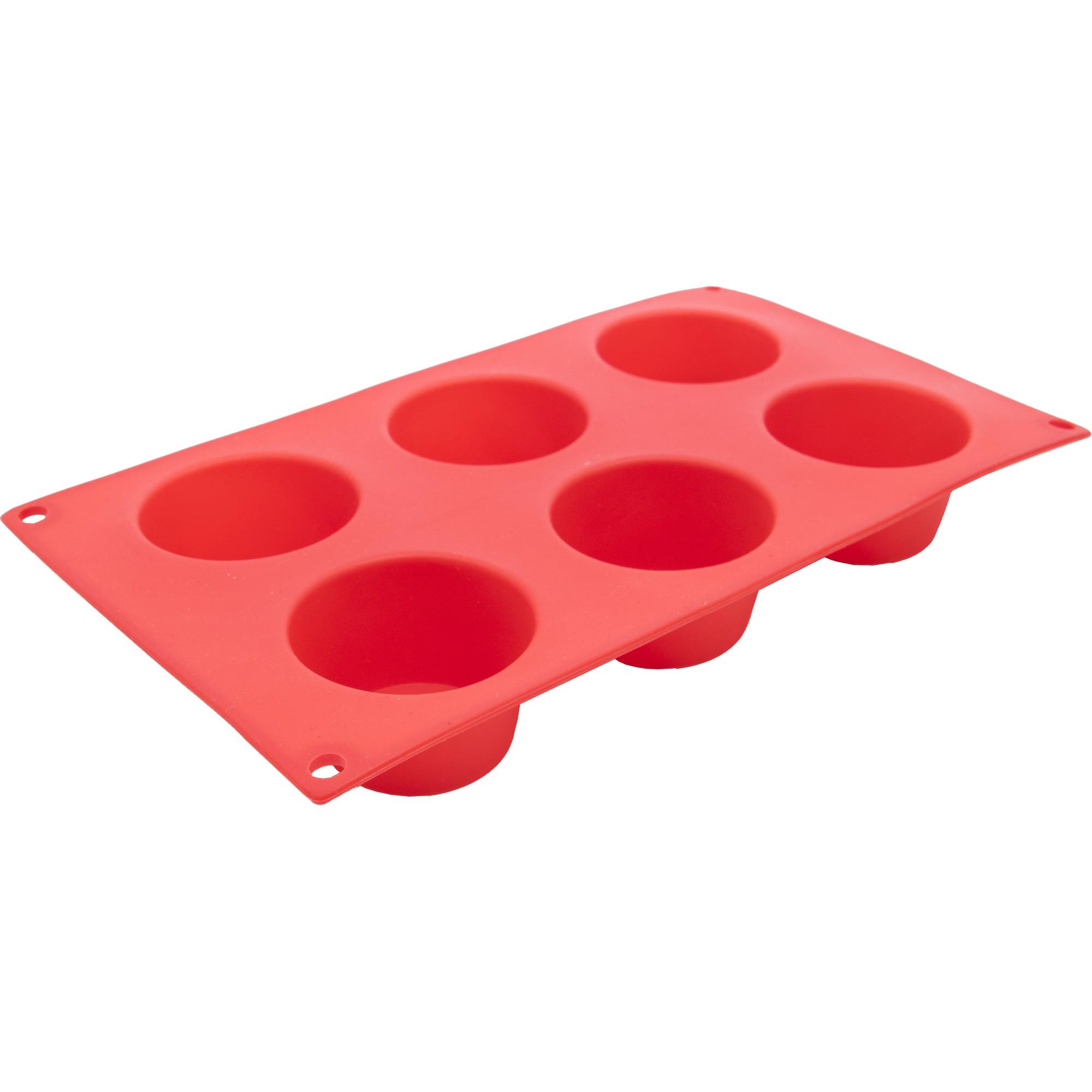 Forma de Silicone para Cupcake Retangular 29x17cm com 6 Divisorias Vermelha - Mundiart