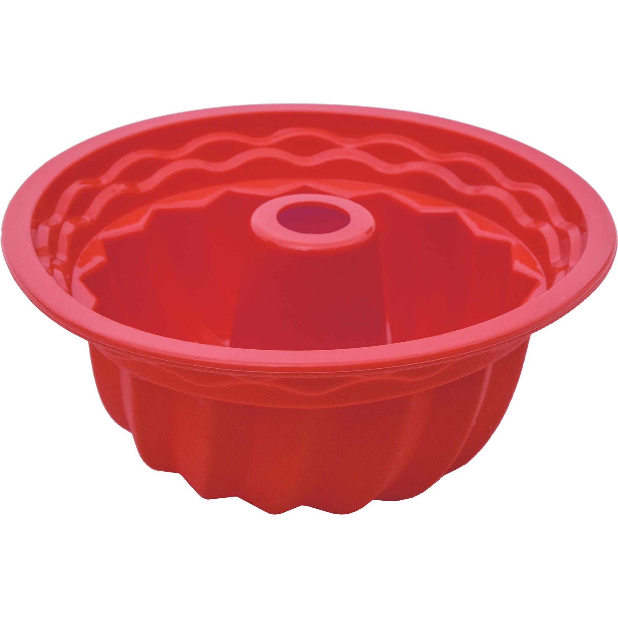 Forma de Silicone para Bolo Redondo 22cm Vermelha - Mundiart