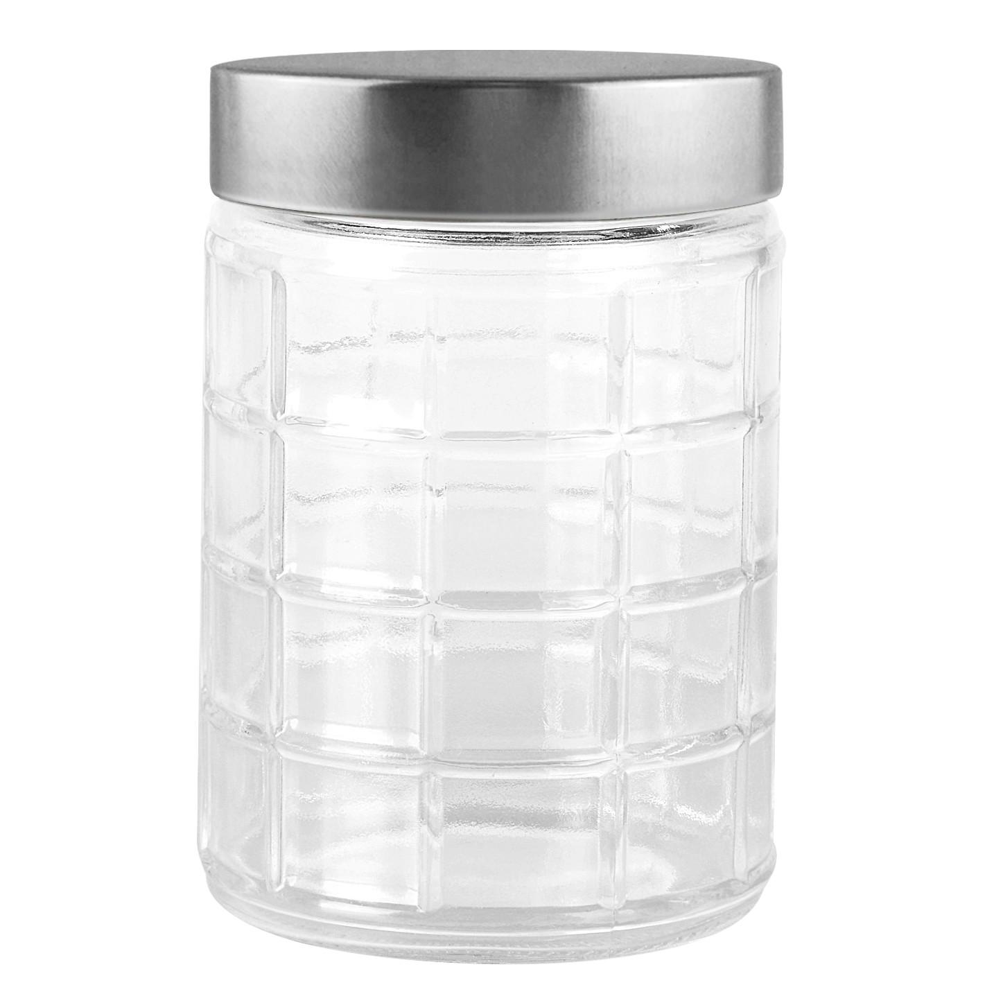 Pote de Vidro Redondo 12L com Tampa de Plastico Prata - Full Fit