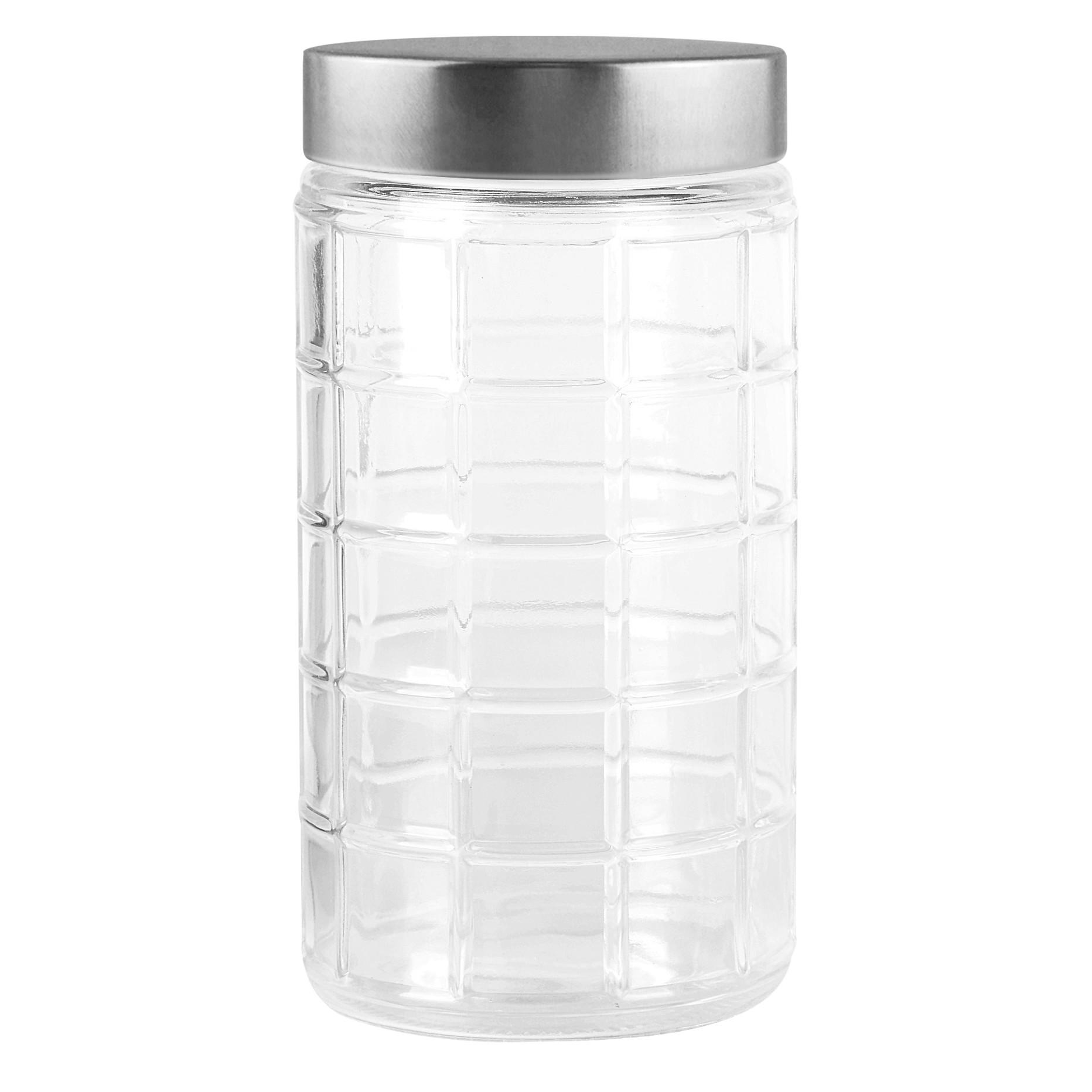 Pote de Vidro Redondo 17L com Tampa de Plastico Prata - Full Fit