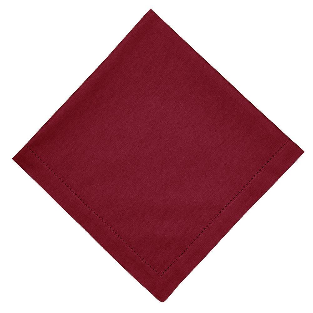 Guardanapo de Tecido Vermelho 50x50 cm Ponto Ajour Algodao - Rafimex