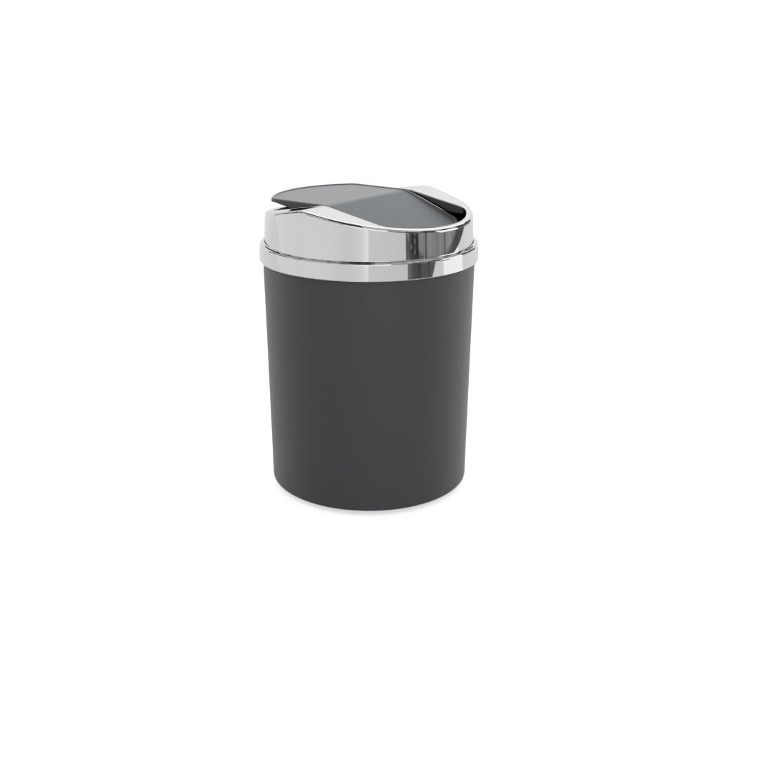 Lixeira Redonda com Basculante de Plastico 5L Preta - 8371-1