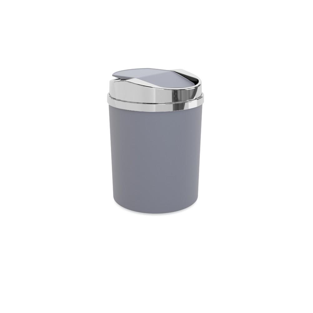 Lixeira Redonda com Basculante de Plastico 5L Cinza - 8371-3