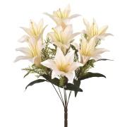 Buquê Artificial de Flores Lirio 7 Complementos Creme