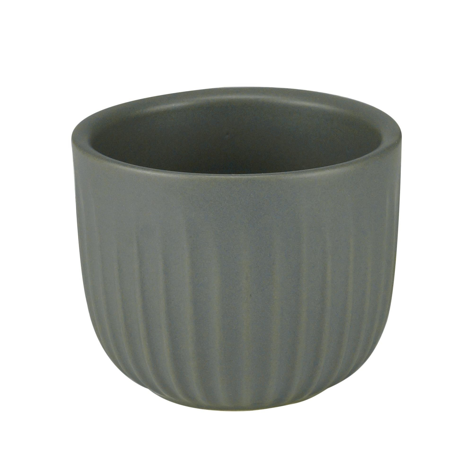 Cachepot Redondo de Ceramica Matte Groove 6cm Cinza - Urban