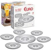 Conjunto de Pratos Diamond para Bolo de Vidro 7 Peças - Euro