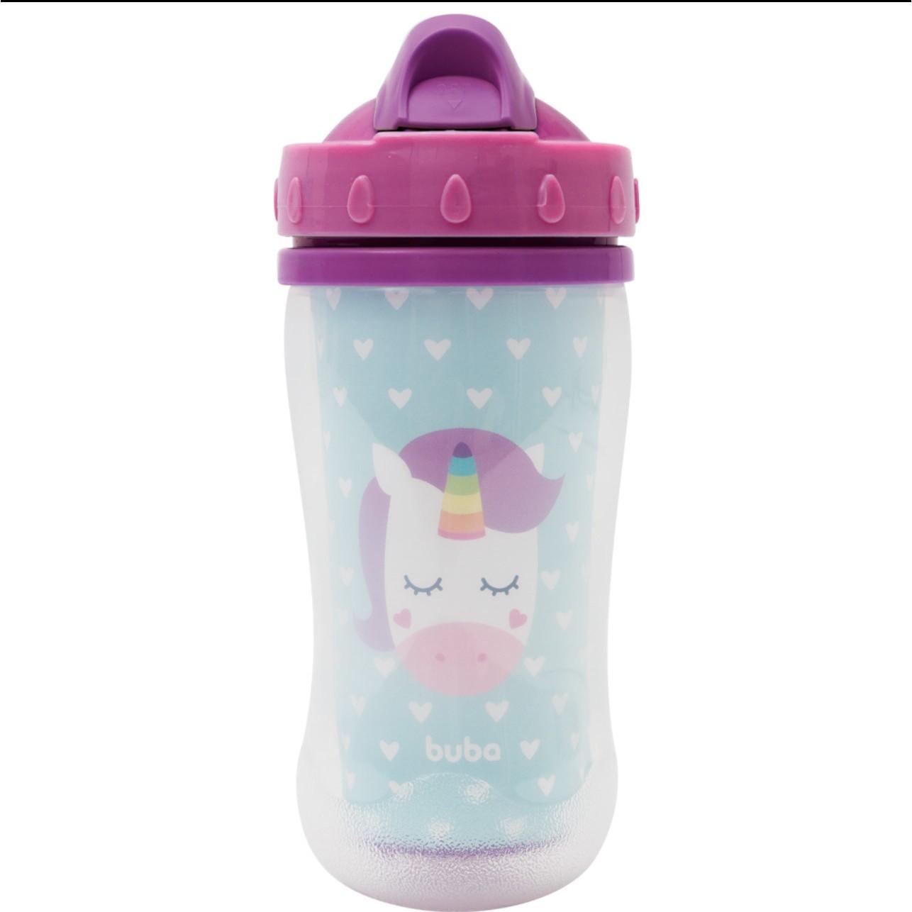Copo Plastico Infantil 320ml Unicornio com Canudo Colorido - Buba