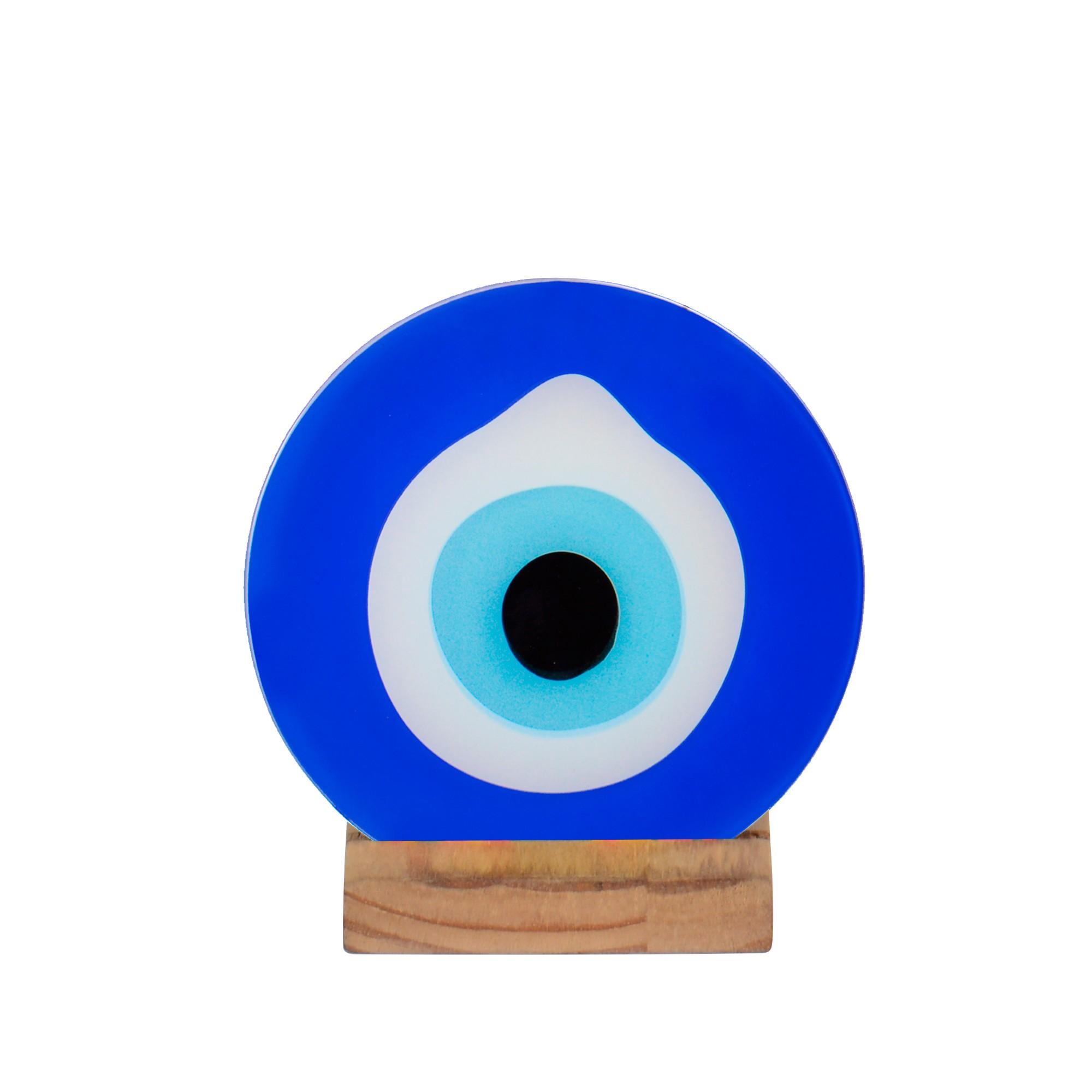Suporte para Vela Olho Grego de Madeira e Vidro - Decor Glass