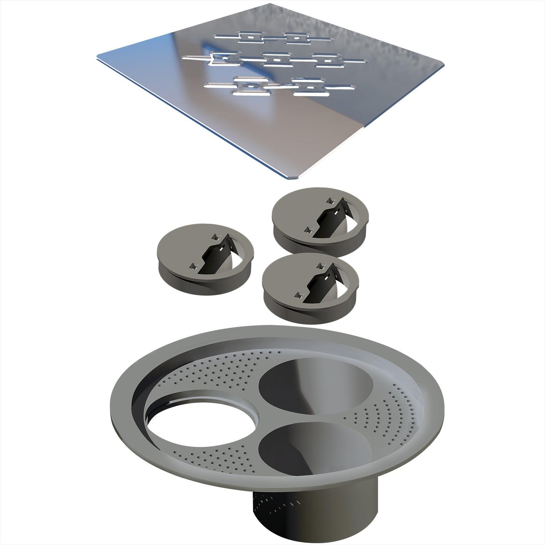 Grelha de Inox PVD Para Esgoto Quadrada 15cm - Ralo Linear