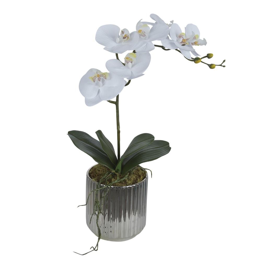 Arranjo Orquidea com Vaso de Prata 50cm - Dea