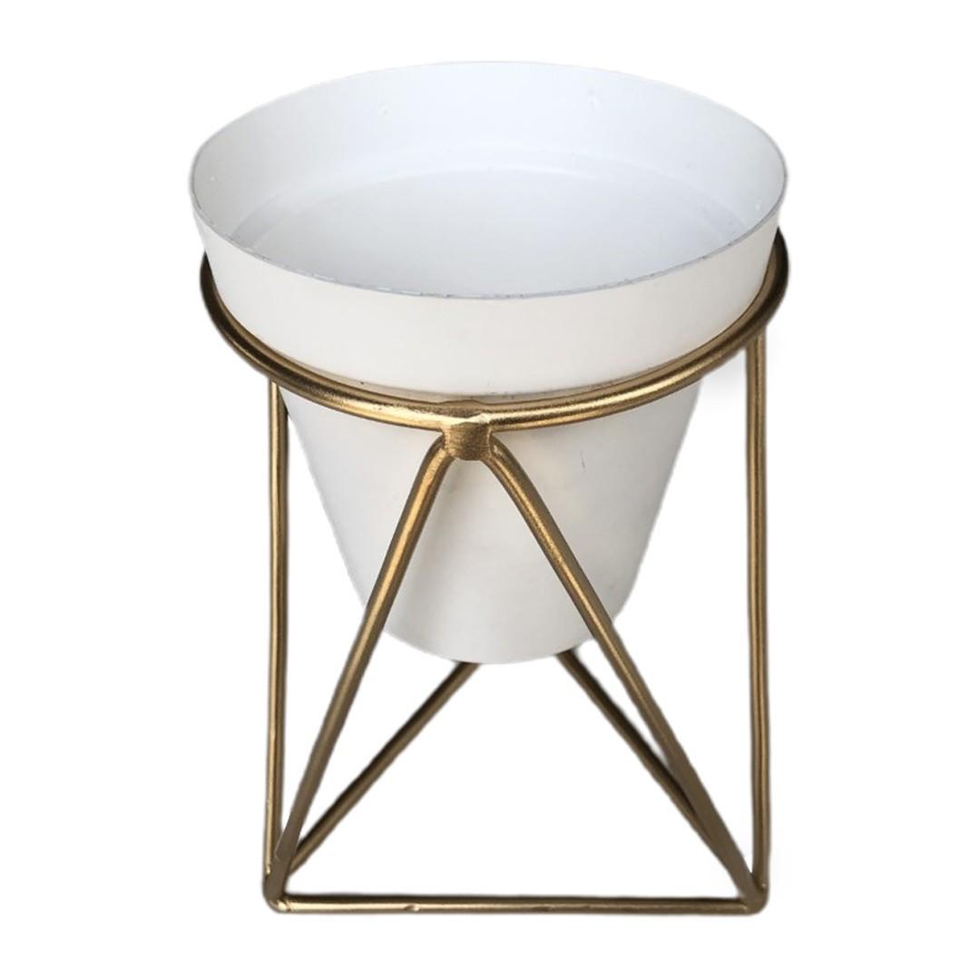 Suporte Triangulo com Vaso Paris Ouro - Gcmfort