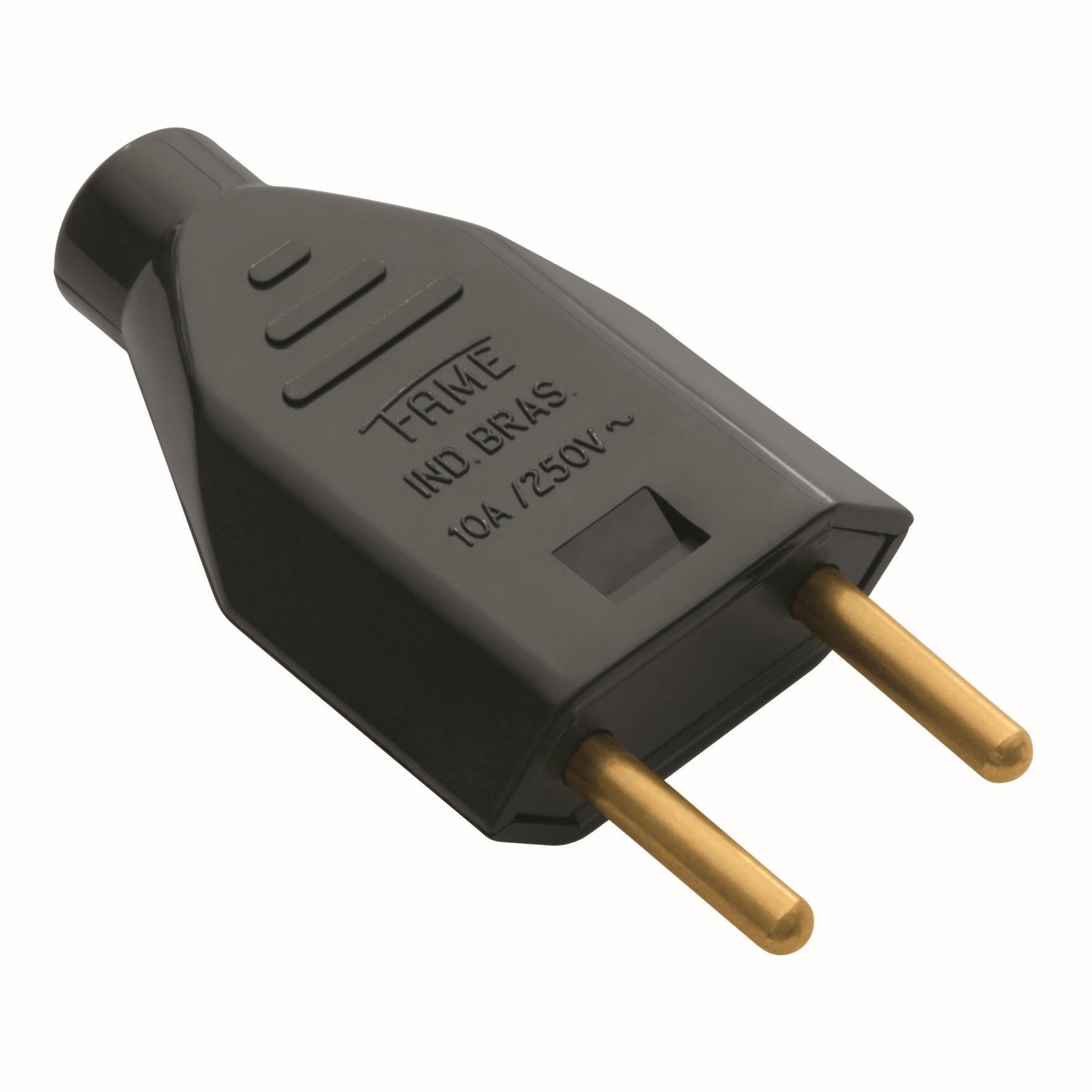 Plug Macho 2P 10A Preto - Fame Eletrica