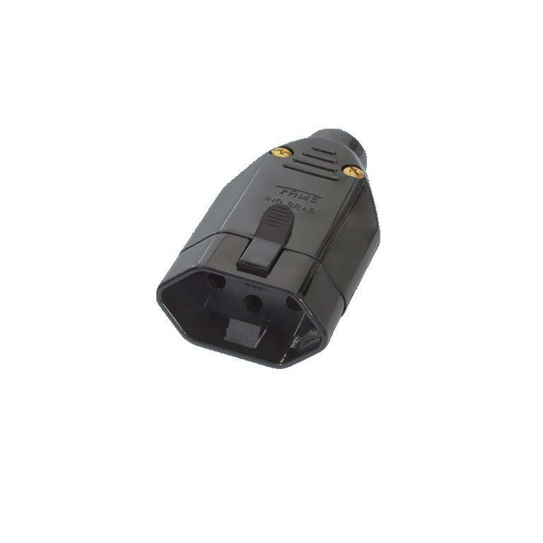 Plug Femea 2PT 10A Preto - Fame Eletrica