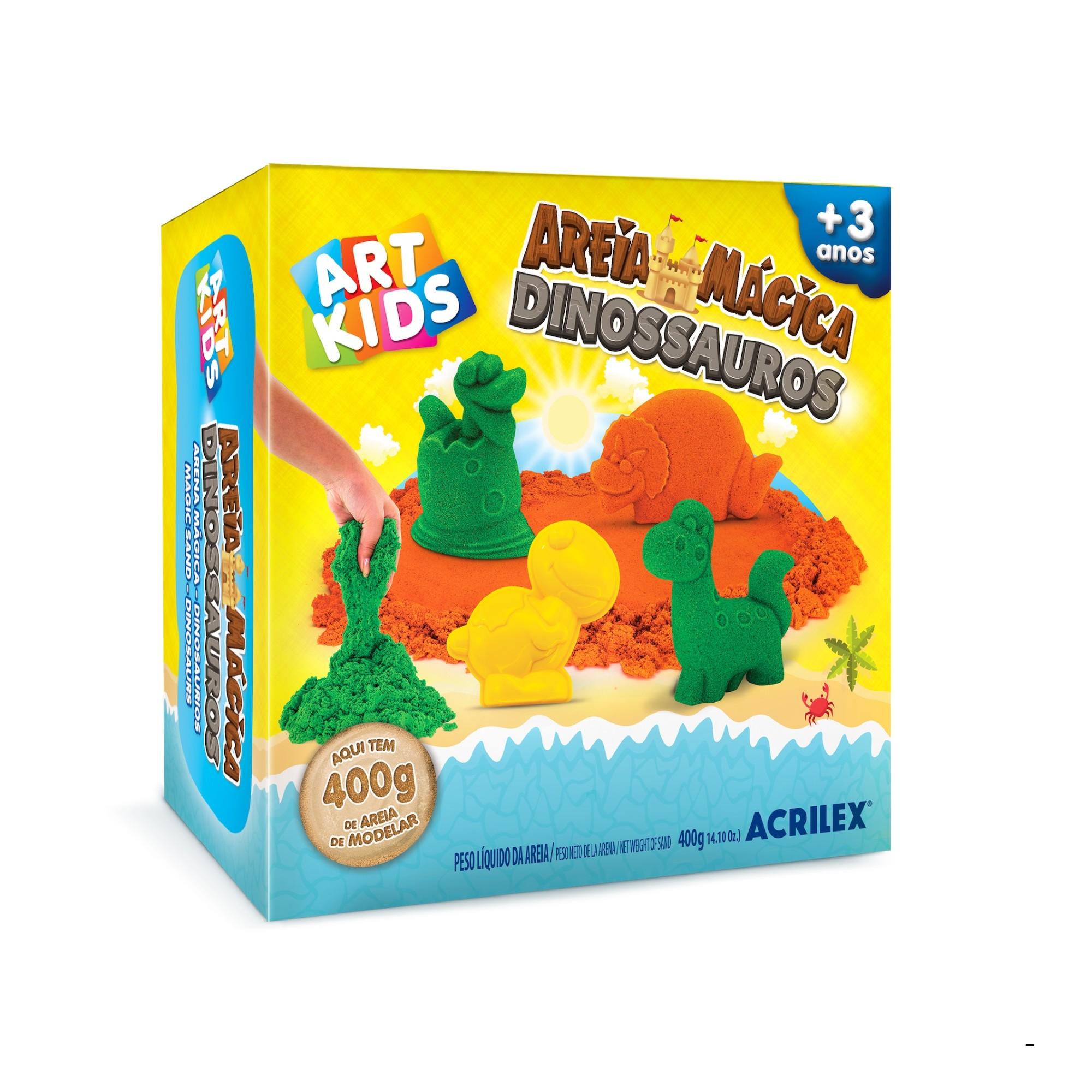 Kit de Areia Magica Dinos 400g - Acrilex