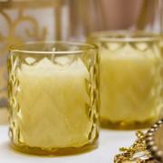 Castiçal Redondo de Vidro 9cm Amarelo - Urban