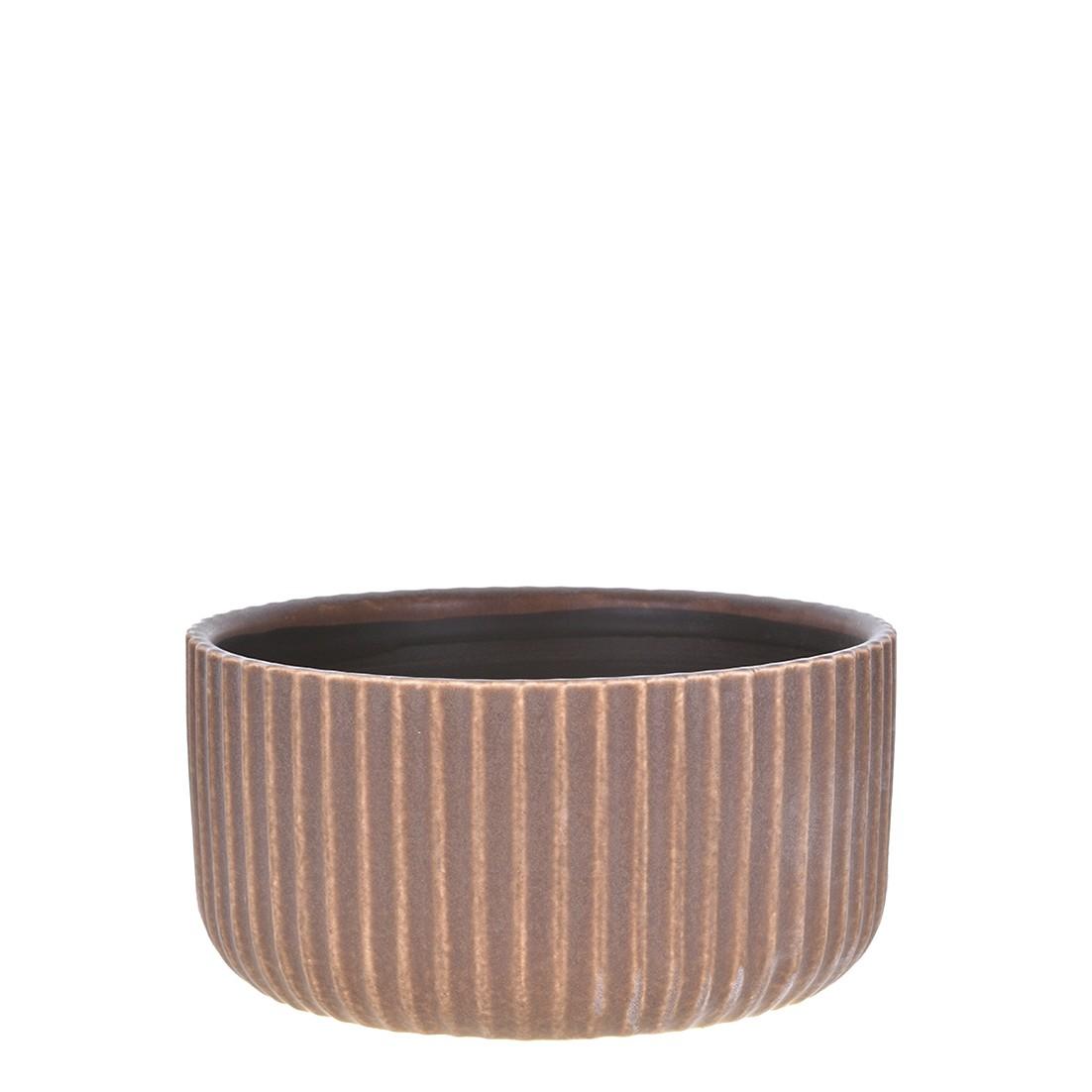 Vaso Decorativo de Ceramica Redondo 19cm Marrom