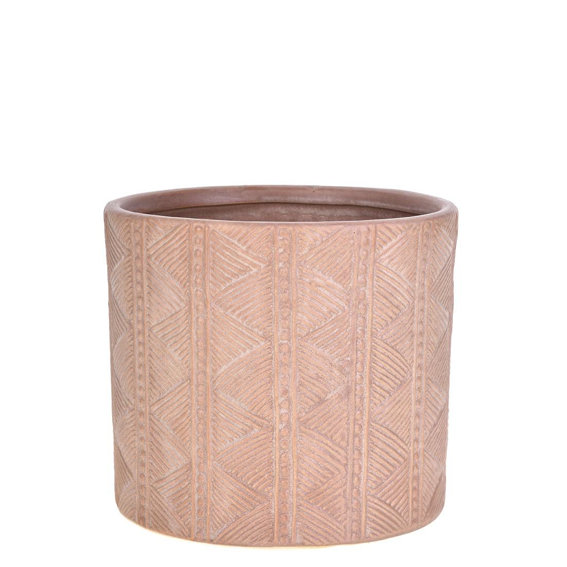 Vaso Decorativo de Ceramica Redondo Bali 15cm Terracota
