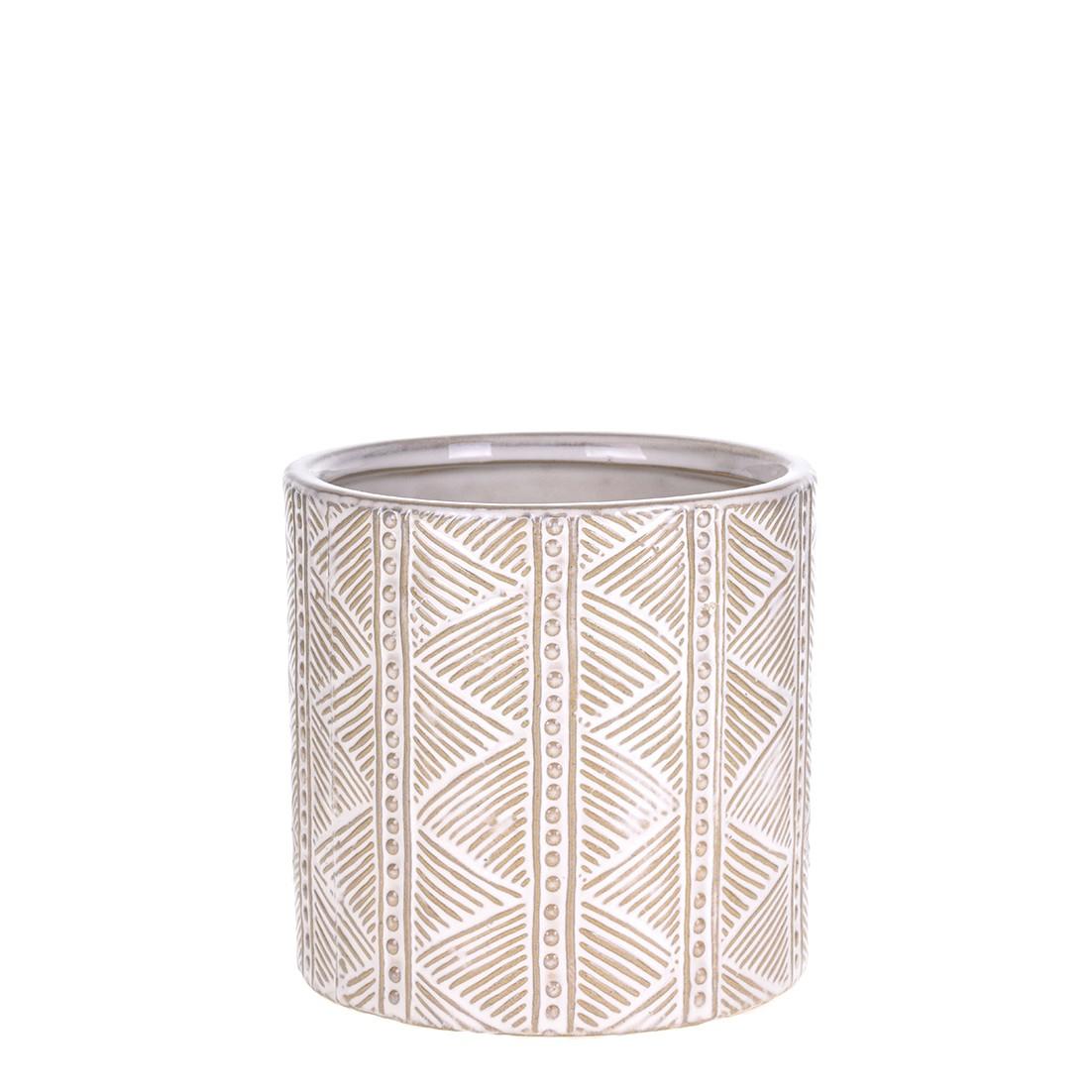 Vaso Decorativo de Ceramica Redondo Bali 13cm Asteca