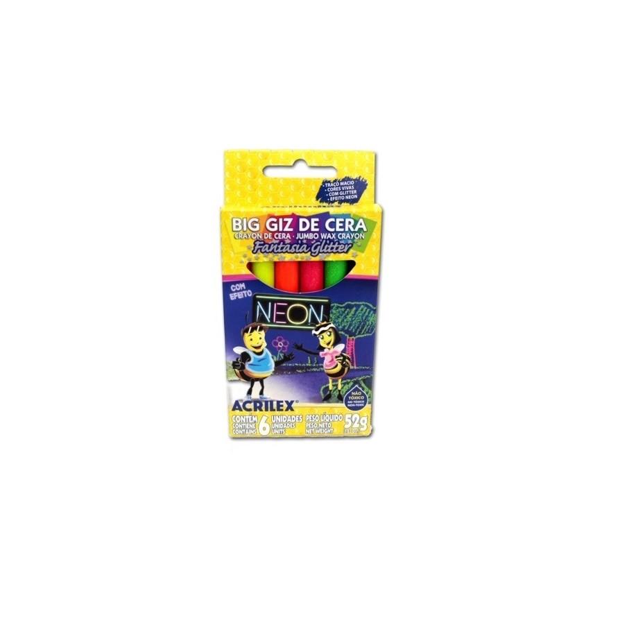 Big Giz de Cera Neon Glitter 6 Cores - Acrilex