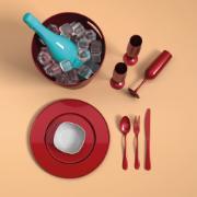 Taça de Champanhe de Plástico 160ml Vermelha Perolizada - Coza