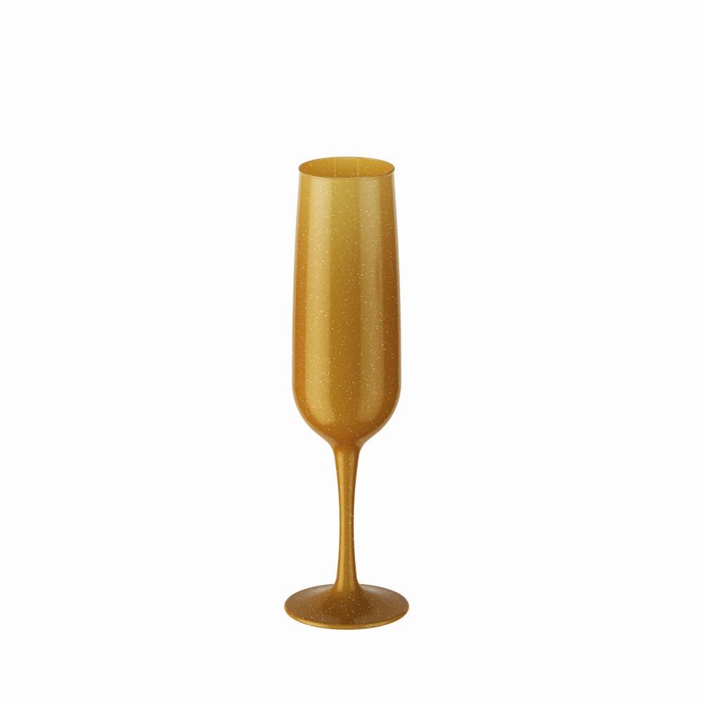 Taca de Espumante ou Champanhe de Plastico 160ml Dourada Glitter - Coza