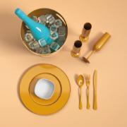Taça de Espumante ou Champanhe de Plástico 160ml Dourada Glitter - Coza
