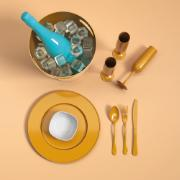 Sousplat Redondo Plástico 31,5cm Dourado Glitter - Coza