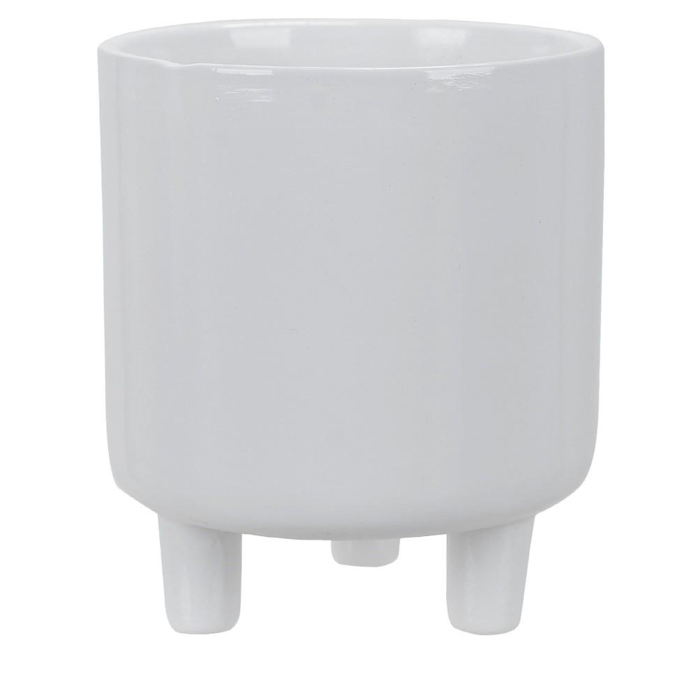 Vaso Decorativo de Ceramica Redondo 12cm Branco - Dea