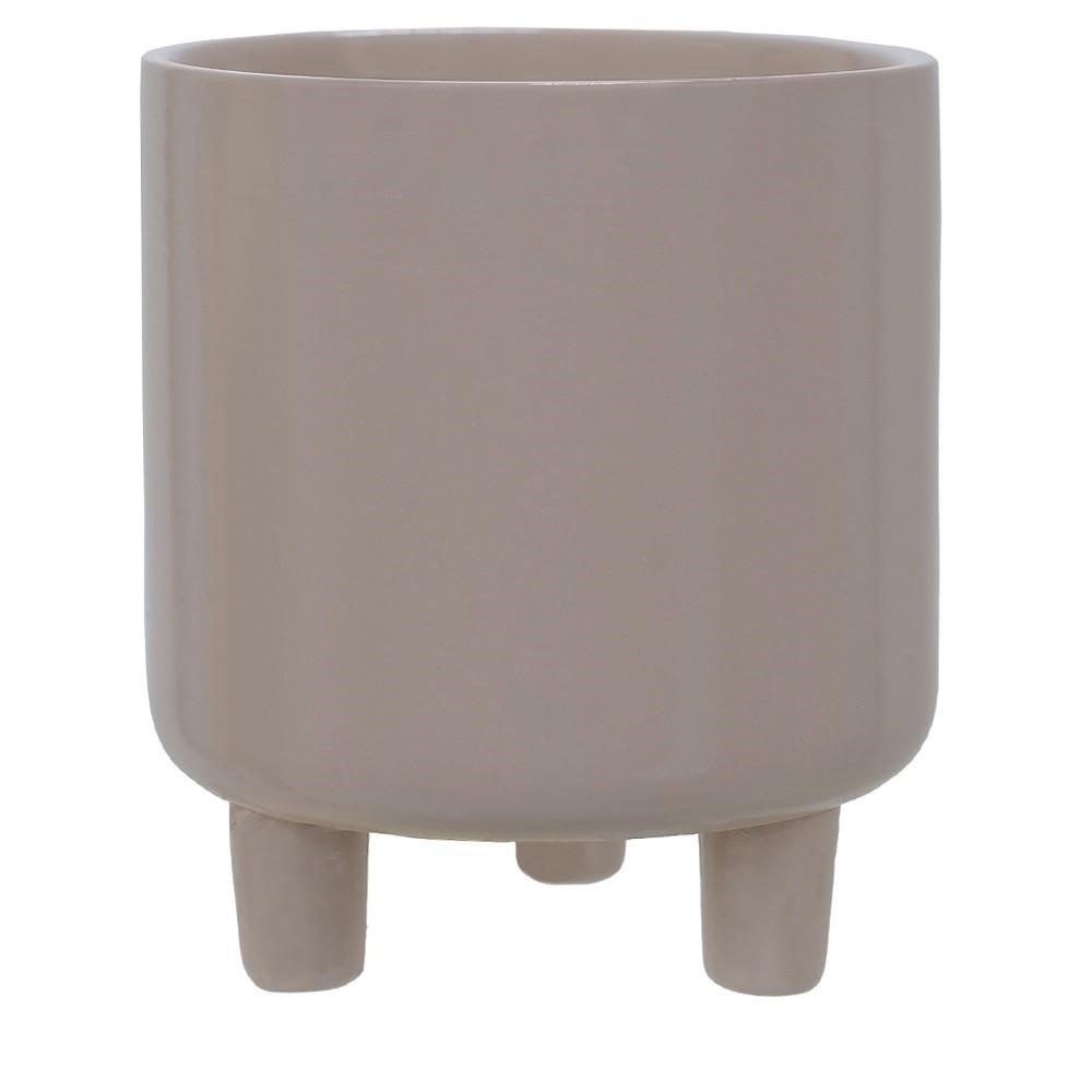 Vaso Decorativo de Ceramica Redondo 12cm Cinza - Dea