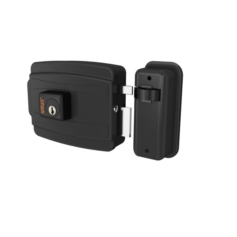 Fechadura Eletrica 40 mm Abertura para Dentro 12V Preta - Stam Met