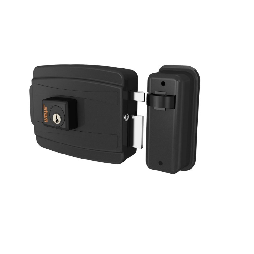 Fechadura Eletrica 40 mm Abertura para Fora 12V Preta - Stam Met