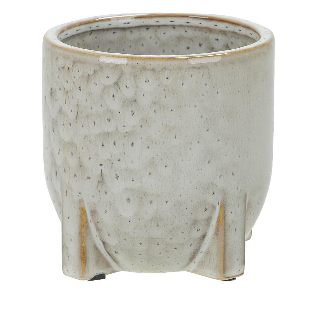 Vaso Decorativo em Ceramica Redondo 12 cm Bege 001 - Dea