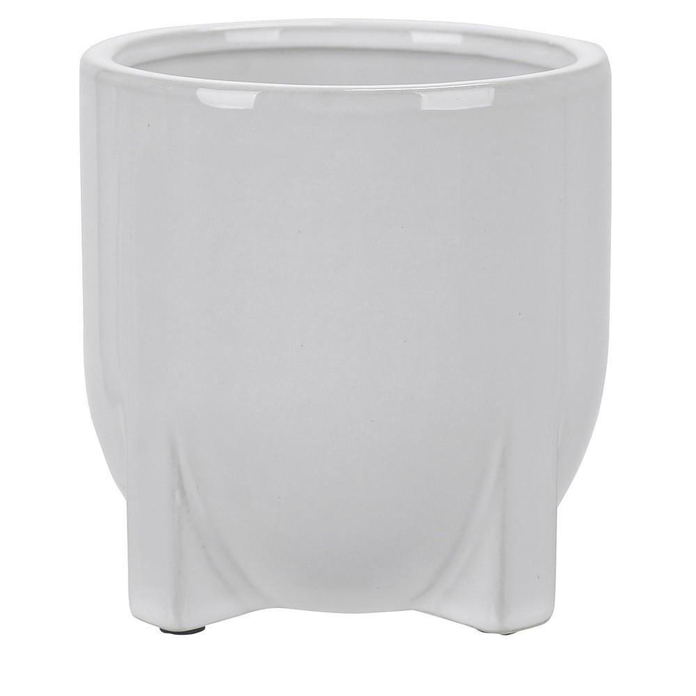 Vaso Decorativo em Ceramica Redondo 12 cm Branco 5003 - Dea