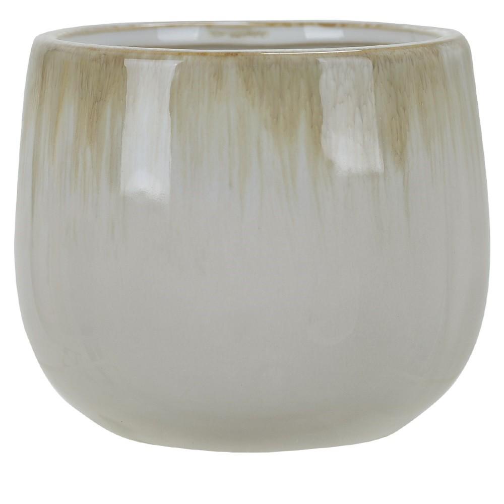 Vaso Decorativo em Ceramica Redondo 11 cm Branco e Bege - Dea