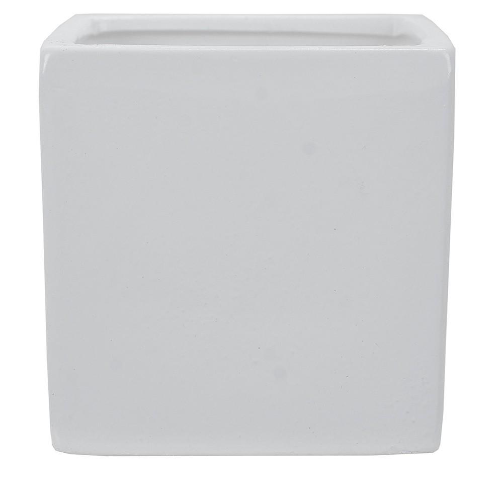 Vaso Decorativo em Ceramica Quadrado 10 cm Branco 5001 - Dea