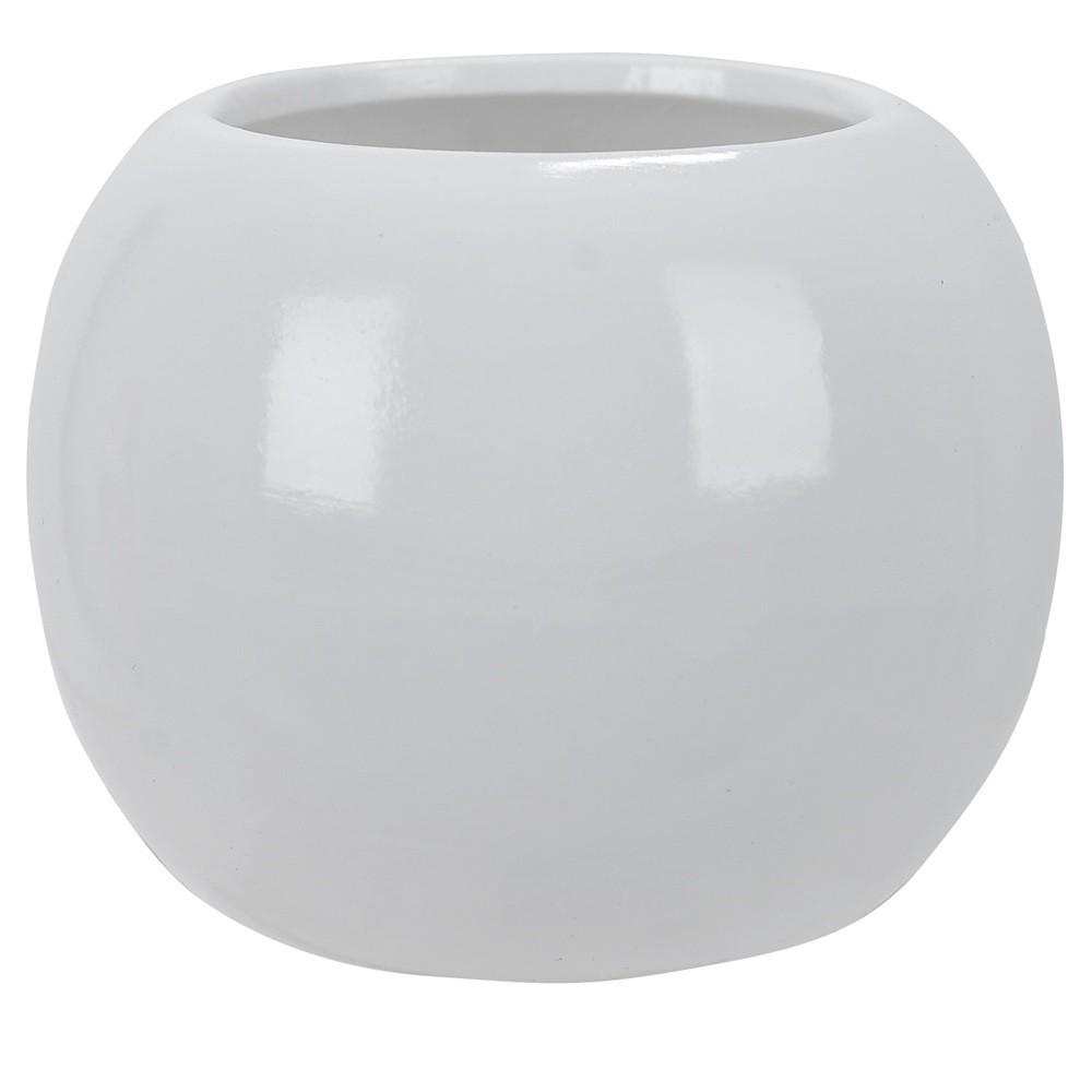 Vaso Decorativo em Ceramica Redondo 7 cm Branco 7001 - Dea