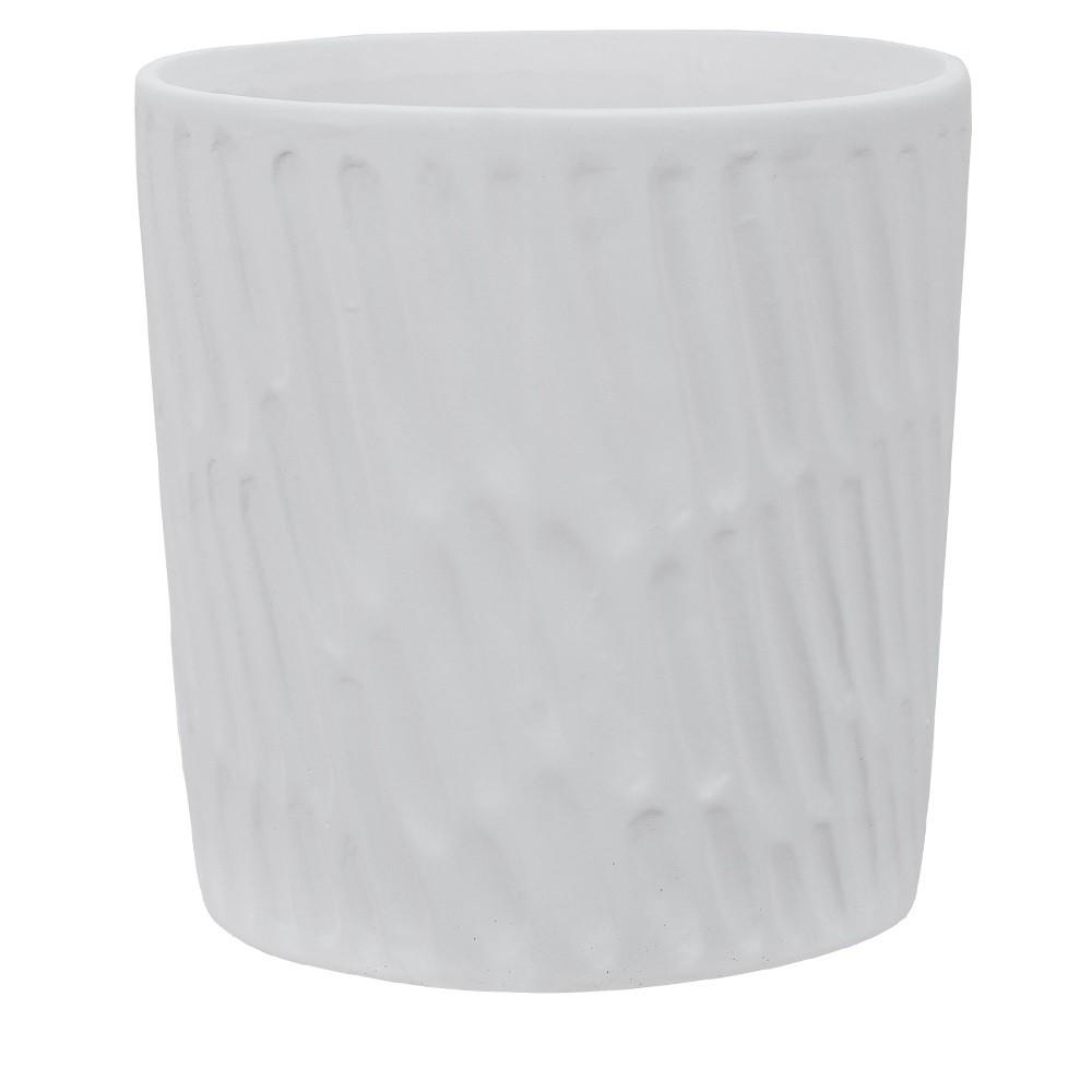 Vaso Decorativo em Ceramica Redondo 125 cm Branco Fosco - Dea