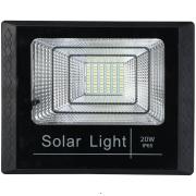 Refletor Solar LED 20W Luz Branca Plástico ABS Preto - Gaya