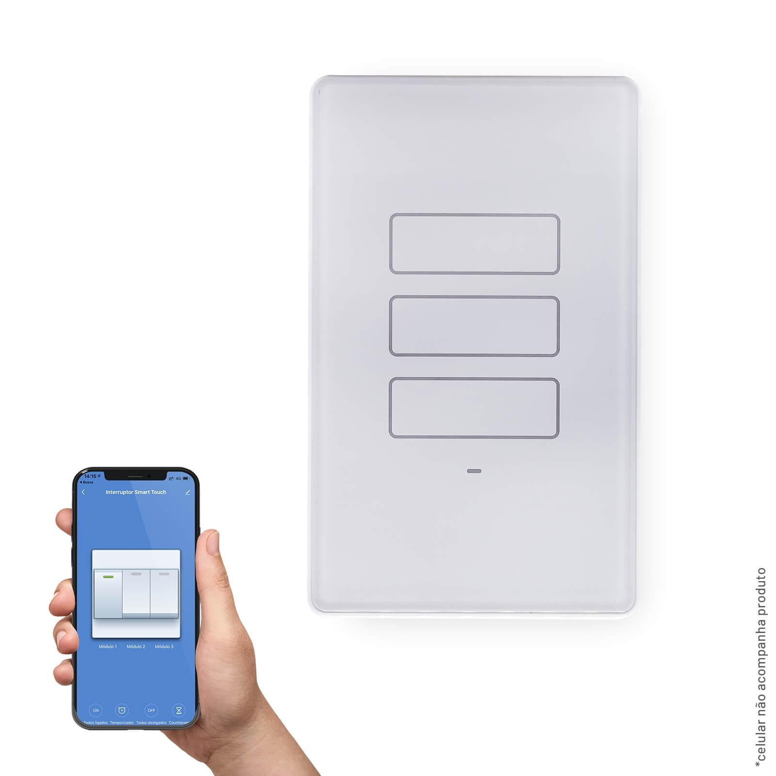 Conjunto Interruptor Inteligente Wi-Fi Smart Plug 3 modulos 10A - Lis