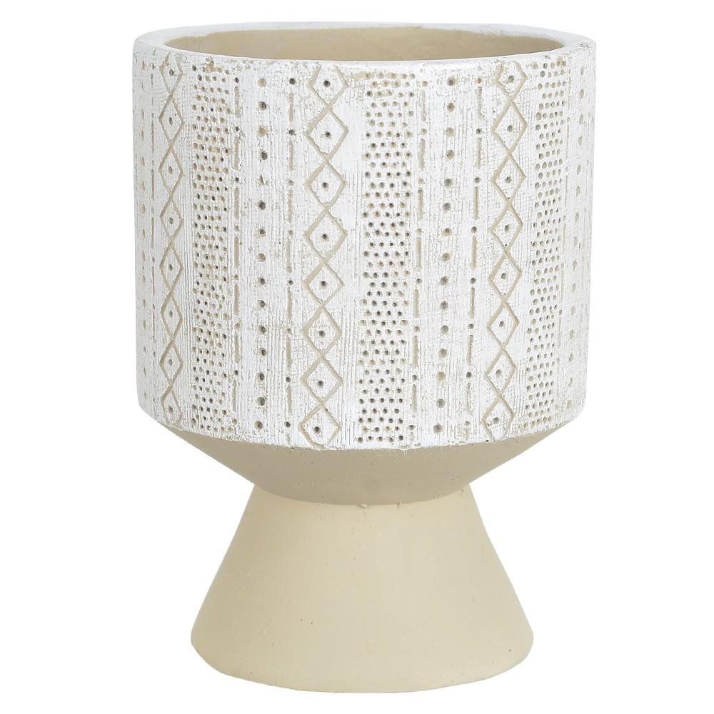 Vaso Decorativo em Cimento Redondo 17 cm Branco com Bege - Dea