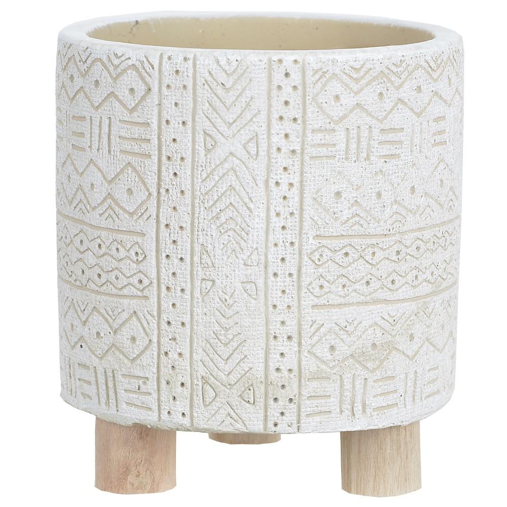 Vaso Decorativo em Cimento Redondo 12 cm Branco - Dea