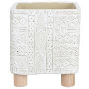 Vaso Decorativo em Cimento Quadrado 11 cm Branco - Dea