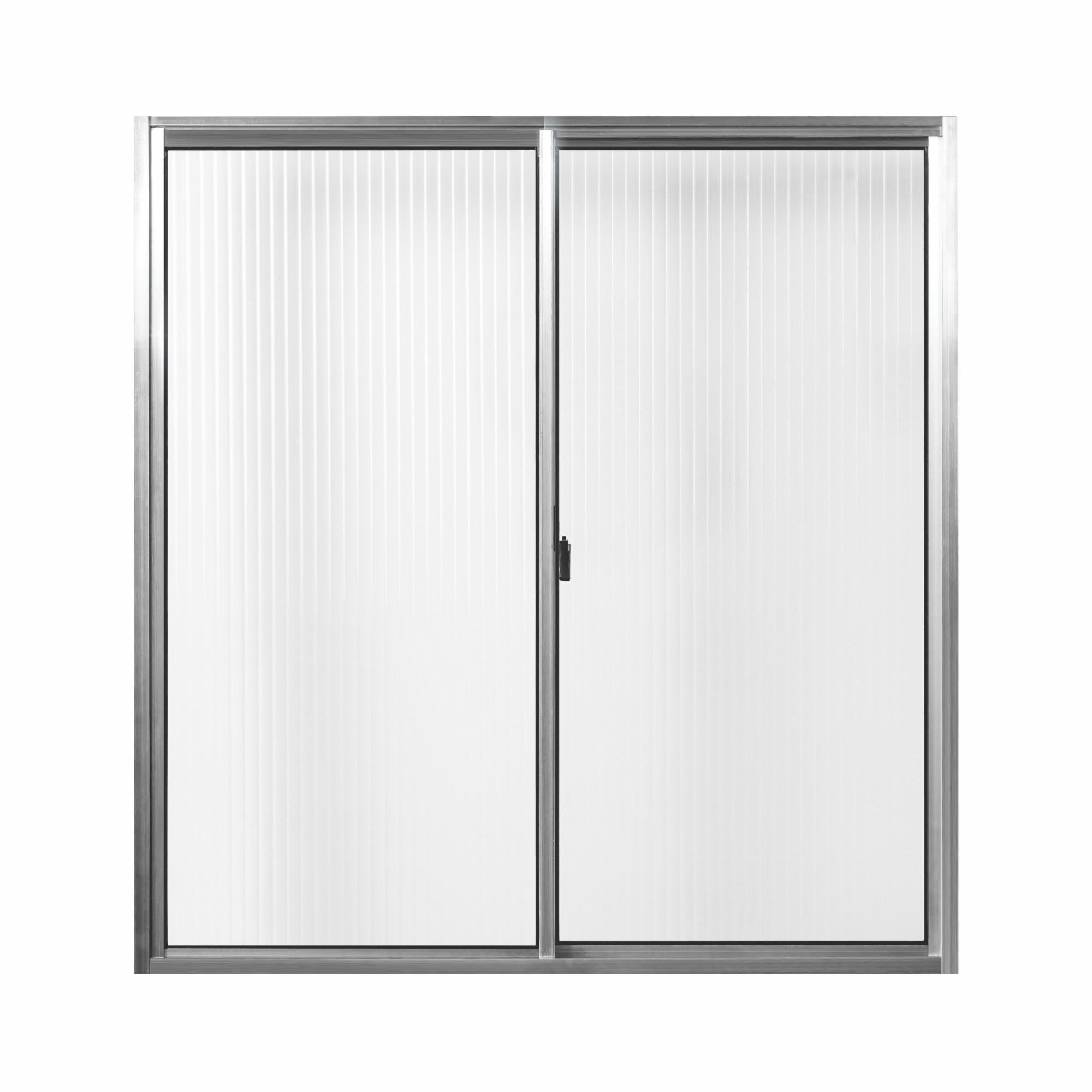 Janela Tropical Slim Aluminio com Vidro Canelado 2 Folhas 80x80 cm - Aluvid