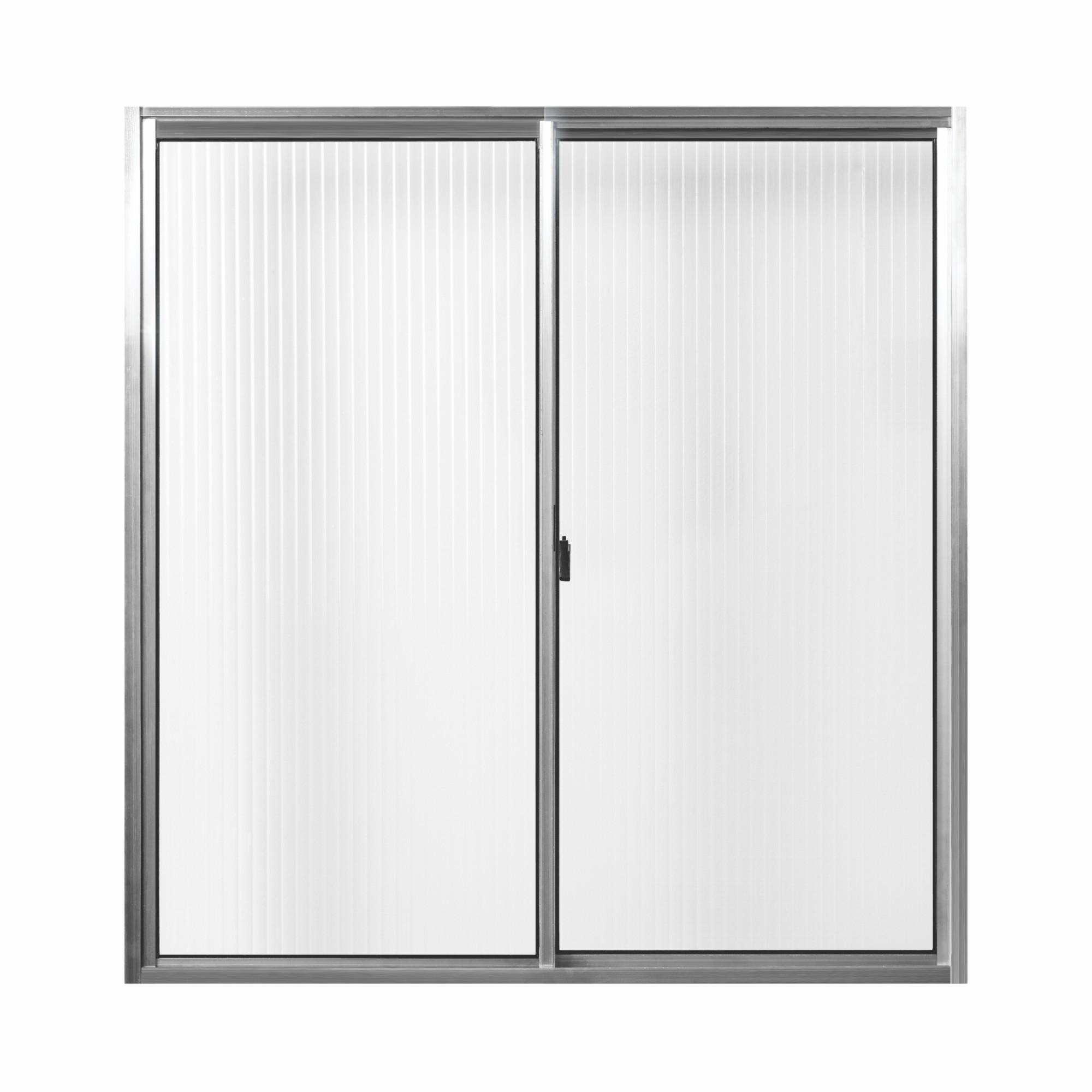 Janela de Correr de Aluminio Vidro Canelado 2 Folhas 100x100 cm - Aluvid