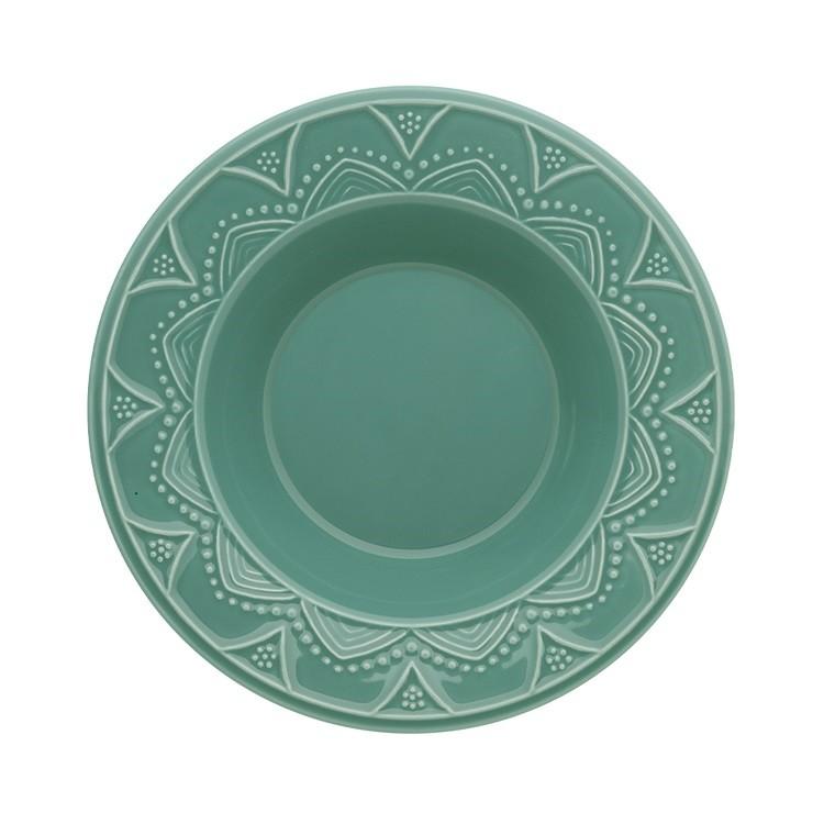 Prato Fundo Redondo em Ceramica 23cm Verde - Oxford