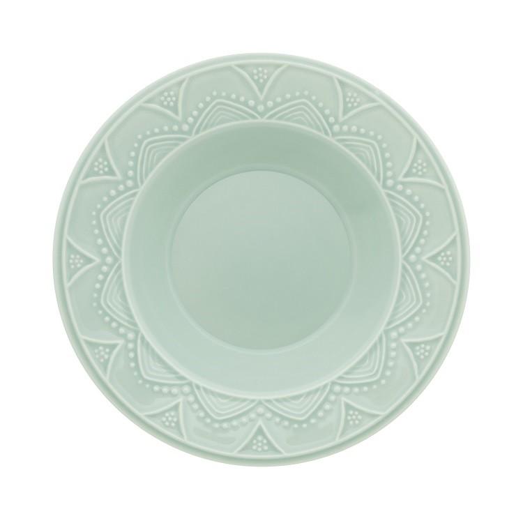 Prato Fundo Redondo em Ceramica 23cm Azul claro - Oxford